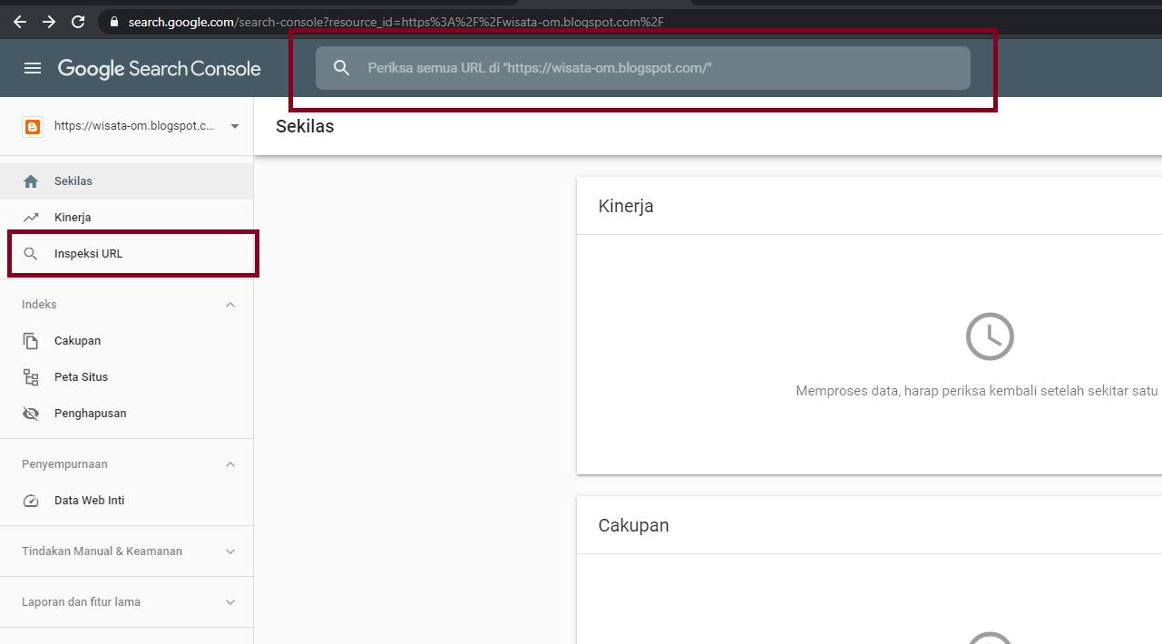 Cara Submit Artikel ke Inspeksi URL Google Webmaster