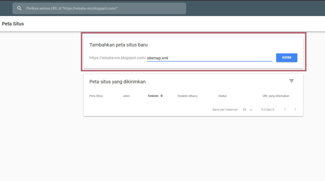 submit sitemap di google webmaster tools