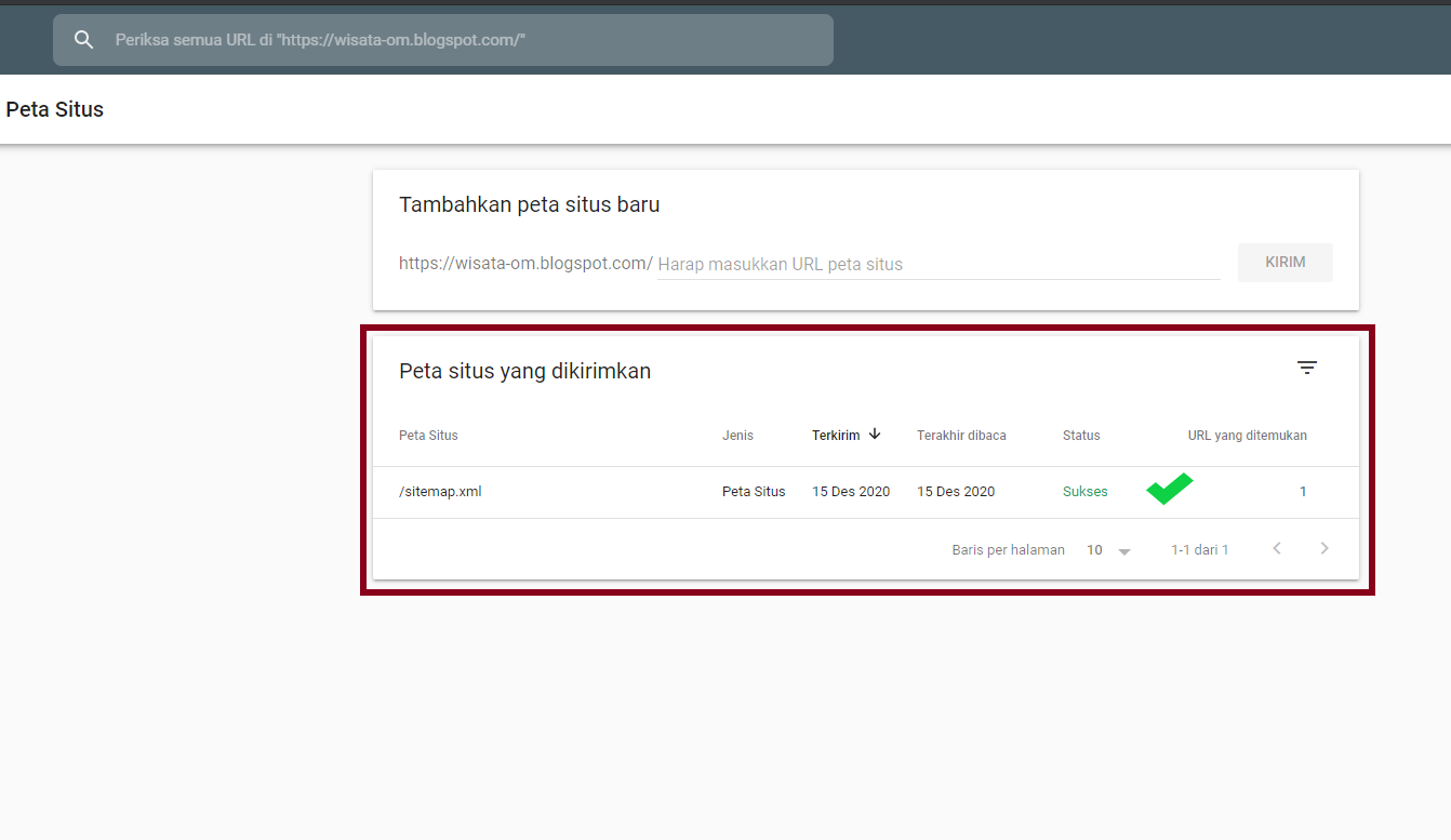 Submit Sitemap di Google Webmaster